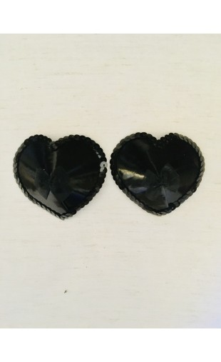 Nipple Pasties - Black Hearts with Bows