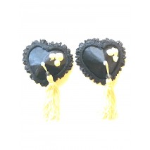 Nipple Pasties - black hearts white roses