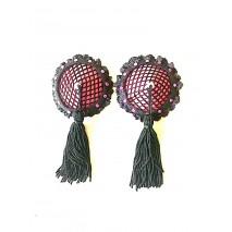 Nipple Pasties - Pink with Black Netting