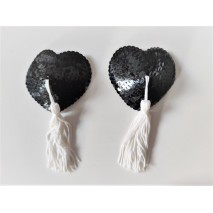 Black Sequin Heart & White Tassel Nipple Pasties
